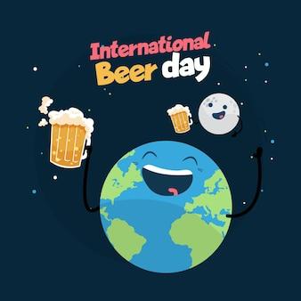 Dia internacional da cerveja com o planeta segurando uma caneca