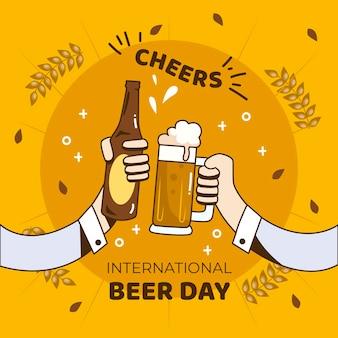 Dia internacional da cerveja com pessoas segurando uma caneca e garrafa