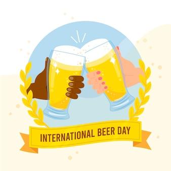 Dia internacional da cerveja com pessoas torcendo com óculos