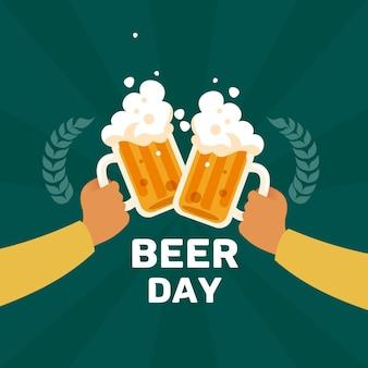 Dia internacional da cerveja com pessoas torcendo