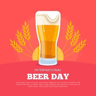 Dia internacional da cerveja com vidro espumoso