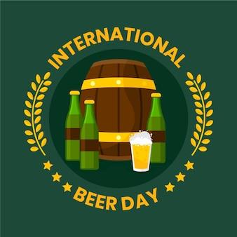 Dia internacional da cerveja de design plano
