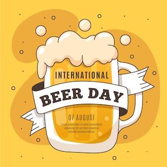 Dia internacional da cerveja de mão desenhada design