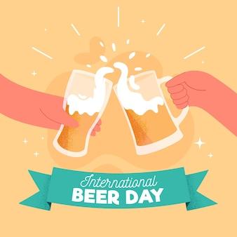 Dia internacional da cerveja de mão desenhada fundo