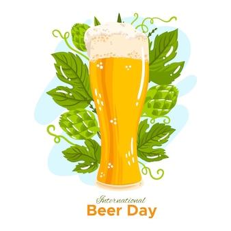 Dia internacional da cerveja desenhada de mão