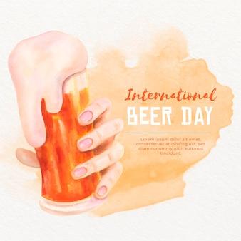 Dia internacional da cerveja design aquarela