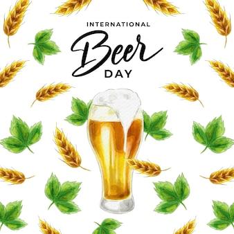 Dia internacional da cerveja em aquarela
