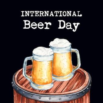 Dia internacional da cerveja em estilo aquarela