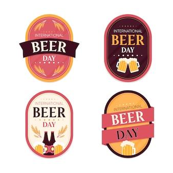 Dia internacional da cerveja emblemas conceito