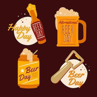 Dia internacional da cerveja letras distintivos