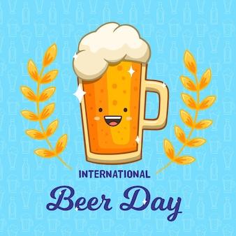 Dia internacional da cerveja mão desenhada design