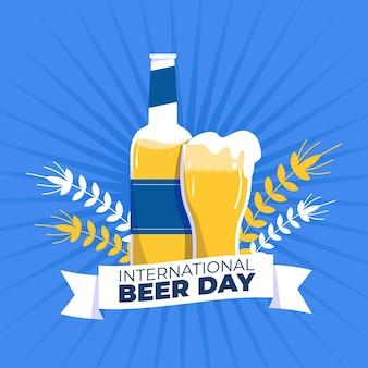 Dia internacional da cerveja mão fundo desenhado