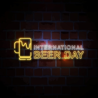 Dia internacional da cerveja néon estilo sinal ilustração
