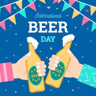 Dia internacional da cerveja torcendo com garrafas