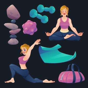 Dia internacional da coleção de elementos de ioga dos desenhos animados