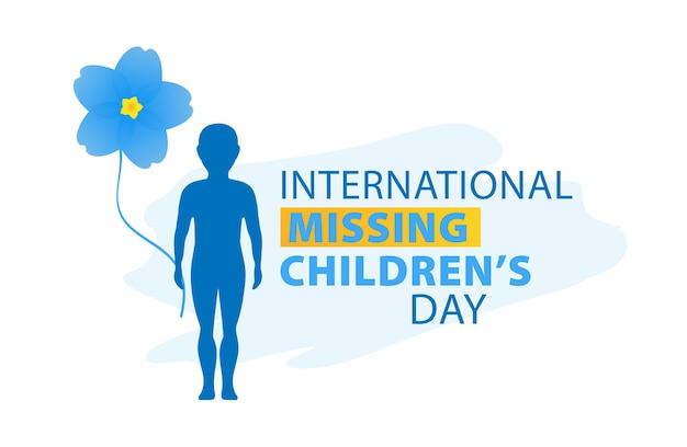 Dia internacional da criança desaparecida esquece-me, não flores ilustração do vetor de crianças perdidas