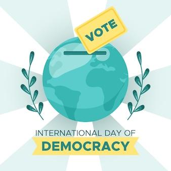 Dia internacional da design plano da democracia com o globo da terra