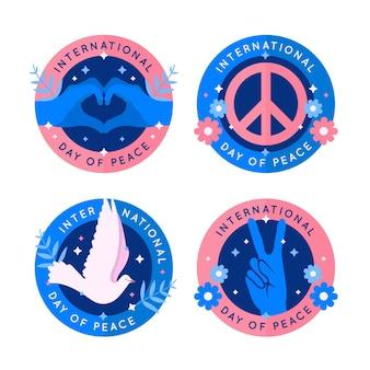 Dia internacional da design plano de coleção de distintivo de paz