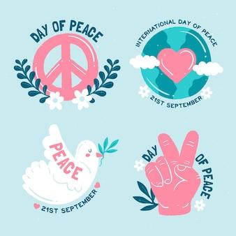 Dia internacional da design plano de coleção de emblemas de paz
