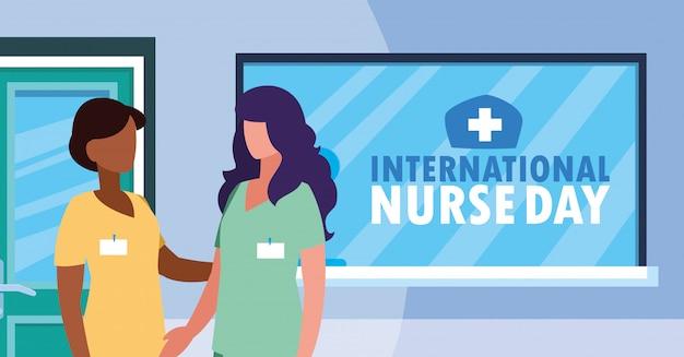 Dia internacional da enfermeira grupo de profissionais do sexo feminino