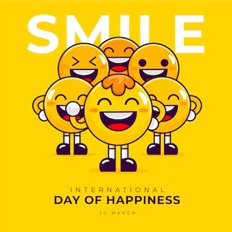 Dia internacional da ilustração da felicidade
