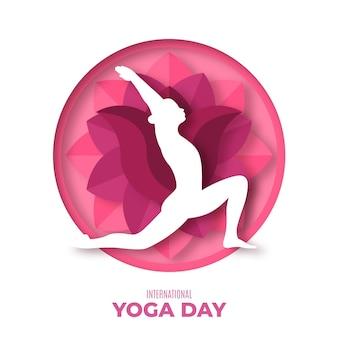 Dia internacional da ilustração de ioga em estilo jornal