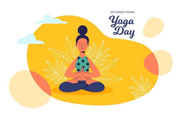 Dia internacional da ilustração design plano de yoga