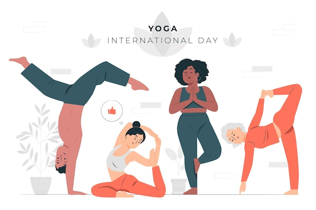Dia internacional da ilustração do conceito de ioga