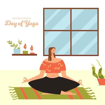 Dia internacional da ilustração plana design de ioga