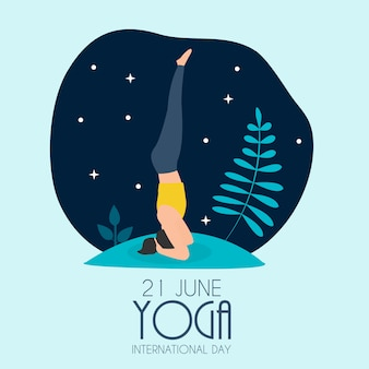 Dia internacional da ioga 21 de junho de fundo. ilustração