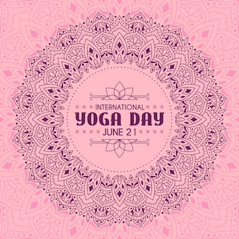 Dia internacional da ioga com design calmo rosa