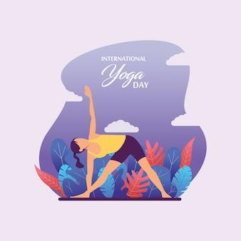 Dia internacional da ioga ilustração plana com fundo de cenário de natureza