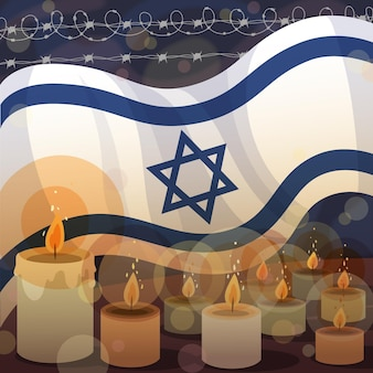 Dia internacional da lembrança do holocausto desenhado à mão