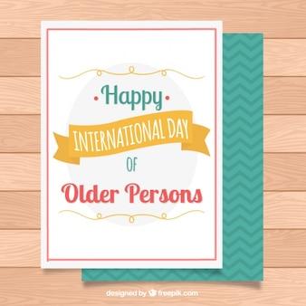 Dia internacional da mais velha cartão de pessoas no estilo do vintage