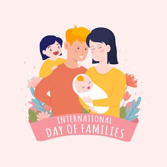 Dia internacional da mão desenhada das famílias