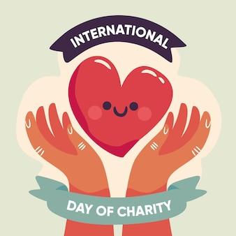 Dia internacional da mão desenhada do conceito de caridade