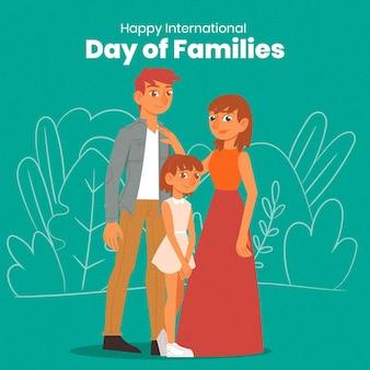 Dia internacional da mão desenhada do conceito de famílias