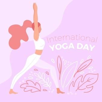 Dia internacional da mão desenhada fundo de yoga