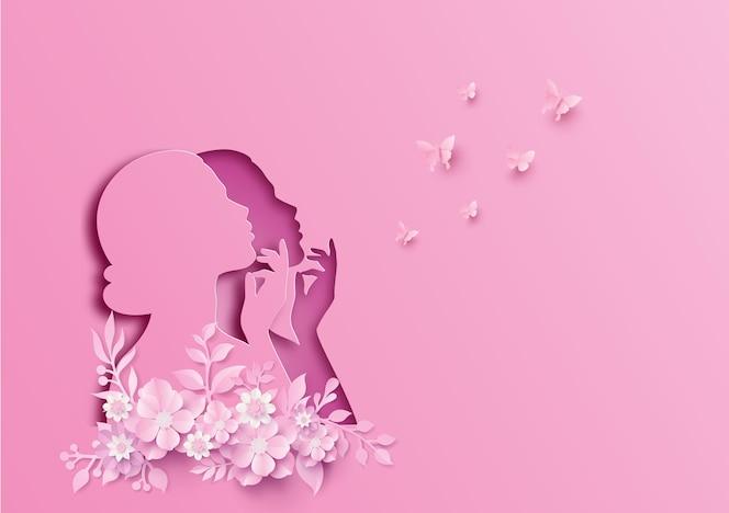 Dia internacional da mulher 8 de março com moldura de flores e folhas, estilo paper art.