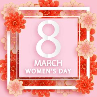 Dia internacional da mulher, 8 de março, em estilo de corte de papel.