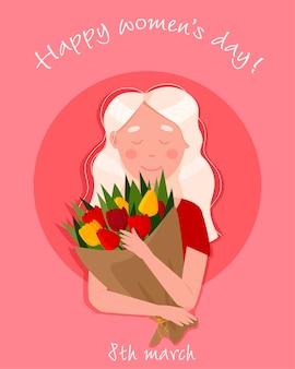 Dia internacional da mulher. 8 de março. menina bonita com um buquê de tulipas. Vetor Premium