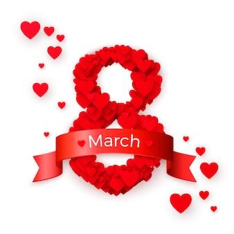 Dia internacional da mulher. cartão postal de 8 de março. conceito de banner do site. ilustração
