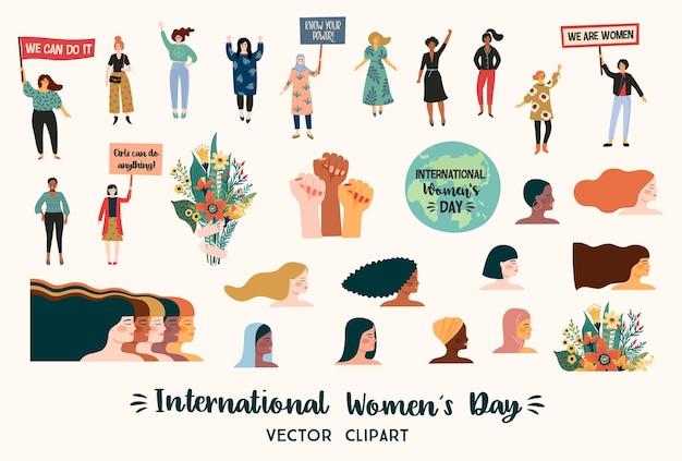 Dia internacional da mulher. clipart com mulheres de diferentes nacionalidades e culturas. luta pela liberdade, independência, igualdade.