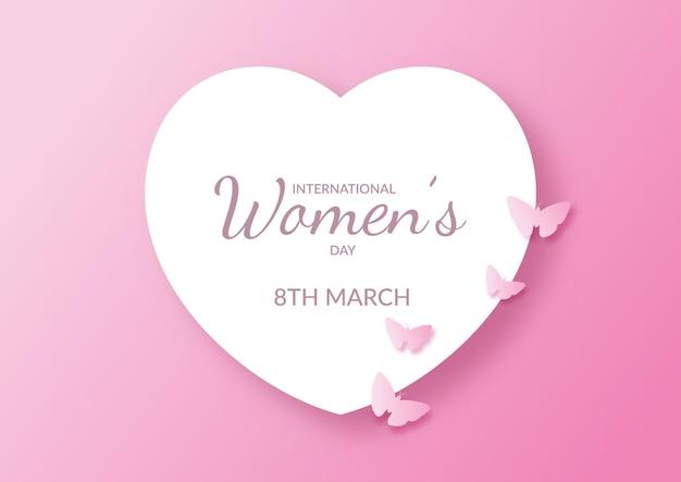 Dia internacional da mulher com coração e borboletas