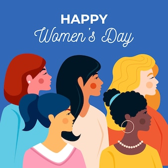 Dia internacional da mulher com design plano ilustrado
