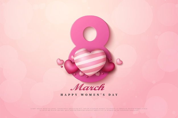 Dia internacional da mulher de 8 de março com figuras decoradas com balões de amor.