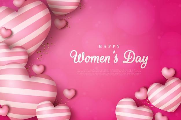 Dia internacional da mulher de fundo de 8 de março com renderização.