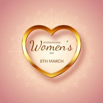 Dia internacional da mulher decorativo com coração de ouro e desenho de mandala