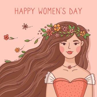 Dia internacional da mulher desenhado à mão ilustrado