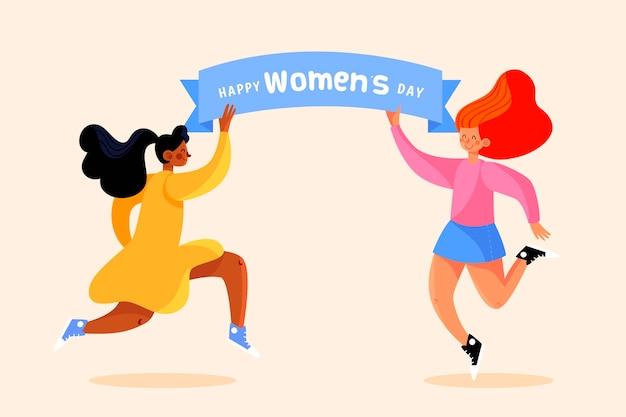 Dia internacional da mulher desenhado à mão